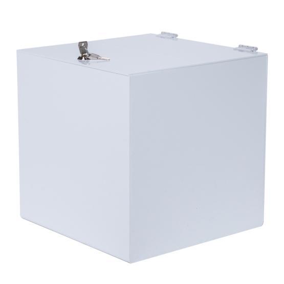 spendenbox mit schloss 300 mm wei es acryl delight. Black Bedroom Furniture Sets. Home Design Ideas