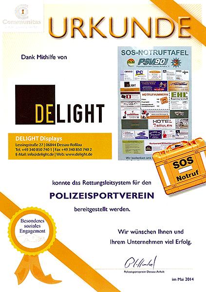 Sponsorenurkunde für Notfallkoffer PSV 90